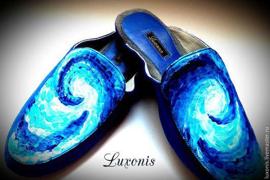 """Обувь ручной работы. Ярмарка Мастеров - ручная работа. Купить Кожаные тапочки """"Дорогой Винсент"""". Handmade. Тёмно-синий"""