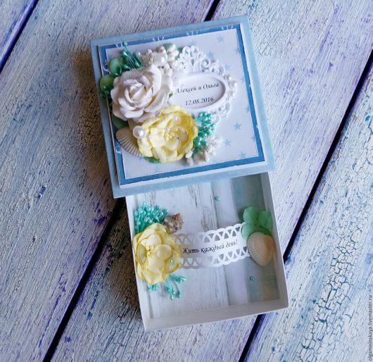 Свадебные открытки ручной работы. Ярмарка Мастеров - ручная работа. Купить Свадебная коробочка для денег - морская. Handmade. Голубой