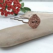 Украшения handmade. Livemaster - original item Copper hairpin Hair Simple Button Boho Wire Copper Barrette. Handmade.