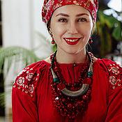 Народные платья ручной работы. Ярмарка Мастеров - ручная работа Вышитое платье-рубаха длины миди в русском стиле. Handmade.