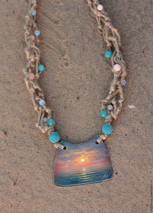 """Кулоны, подвески ручной работы. Ярмарка Мастеров - ручная работа. Купить Подвеска """"Море"""". Handmade. Разноцветный, металл, масляная живопись"""