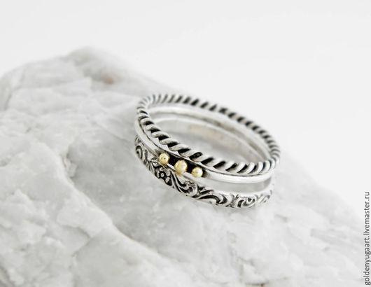 Кольца ручной работы. Ярмарка Мастеров - ручная работа. Купить Набор из трех колец, серебро 925 пробы + золото 585. Handmade.