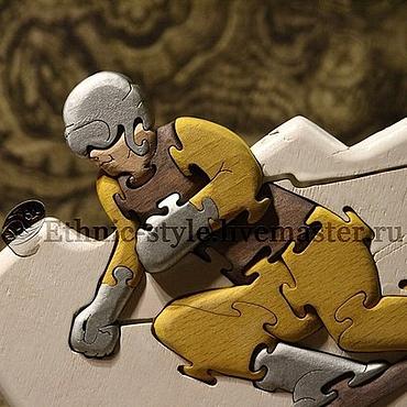 Подарки к праздникам ручной работы. Ярмарка Мастеров - ручная работа Горнолыжник (статуэтка-пазл). Handmade.