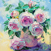 Картины и панно handmade. Livemaster - original item Oil painting on canvas, 30h35. Shabby roses.  Shabby roses. Handmade.
