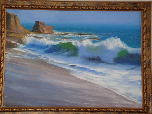 Пейзаж ручной работы. Ярмарка Мастеров - ручная работа. Купить Прибрежные волны. Handmade. Голубой, море, волна, берег