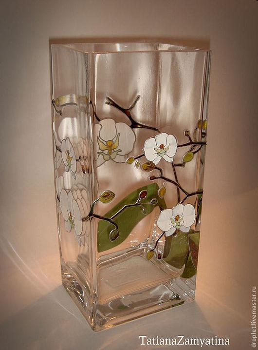 """Вазы ручной работы. Ярмарка Мастеров - ручная работа. Купить Ваза """"Белые Орхидеи"""". Handmade. Ваза, белые орхидеи, Живопись"""