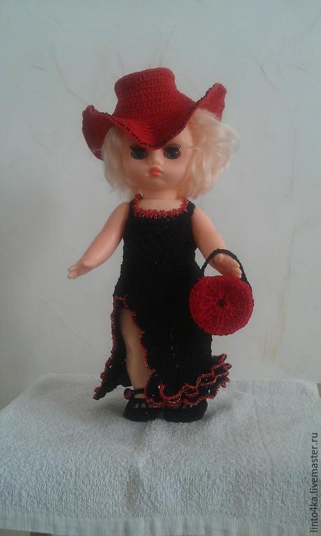 Одежда для кукол ручной работы. Ярмарка Мастеров - ручная работа. Купить Одежда для куклы Варвары. Handmade. Черный, шляпа с полями