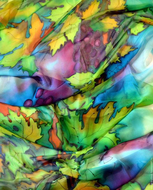 Шали, палантины ручной работы. Ярмарка Мастеров - ручная работа. Купить Шелковый палантин-шарф Август. Handmade. Комбинированный, Батик
