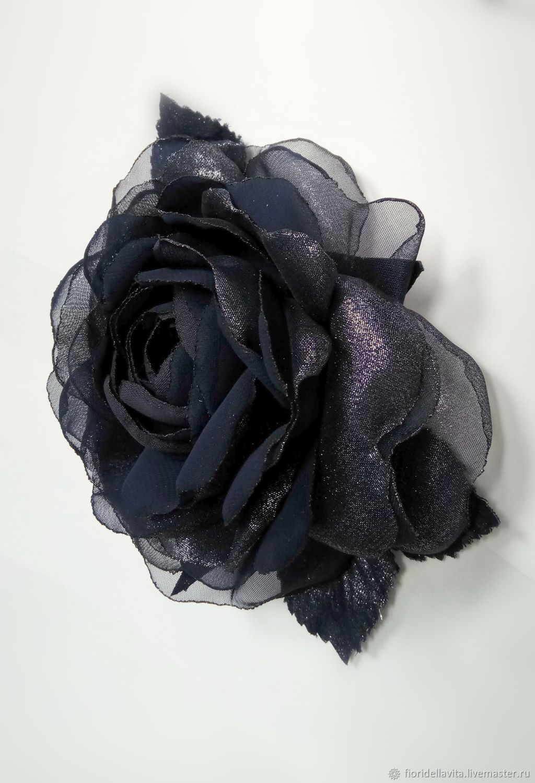 FABRIC FLOWERS. Chiffon rose ' Blue frost', Brooches, Vidnoye,  Фото №1