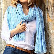 Аксессуары ручной работы. Ярмарка Мастеров - ручная работа шарф изо льна Голубое небо. Handmade.