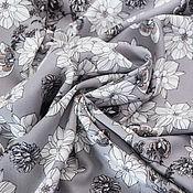 """Ткани ручной работы. Ярмарка Мастеров - ручная работа Вискоза """"Цветы на сером"""". Handmade."""