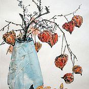 Картины и панно ручной работы. Ярмарка Мастеров - ручная работа Натюрморт с физалисом в вазе. Handmade.