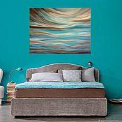 Картины и панно handmade. Livemaster - original item Oil painting abstraction in blue tones 40 x 50 cm turquoise color. Handmade.