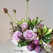 Цветы и флористика ручной работы. Ярмарка Мастеров - ручная работа настольная композиция с розами. Handmade.