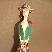 """Куклы и игрушки ручной работы. Ярмарка Мастеров - ручная работа Кукла-колокольчик """"Девушка в юбке в полоску"""". Handmade."""