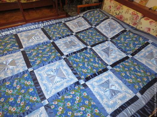 Текстиль, ковры ручной работы. Ярмарка Мастеров - ручная работа. Купить лоскутное одеяло в сине-голубых тонах. Handmade.