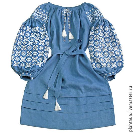"""Платья ручной работы. Ярмарка Мастеров - ручная работа. Купить Платье-вышиванка """"Звездный Туман"""". Handmade. Синий, вышитое платье"""