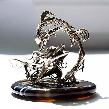 "Souvenirs and gifts handmade. Livemaster - original item Статуэтка ""Дельфины"", серебро, агат, эксклюзив. Handmade."