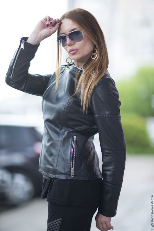Куртка. Куртка из натуральной кожи. Черная куртка. Натуральная кожа. Куртка с карманами. Ярмарка Мастеров.