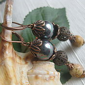 Украшения handmade. Livemaster - original item Earrings with black pearls and sandy Jasper.. Handmade.