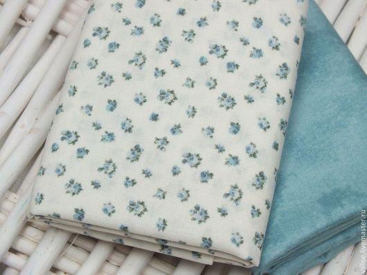 """Шитье ручной работы. Ярмарка Мастеров - ручная работа. Купить Ткань """"Rosies's Garden"""" (pale blue). Handmade. Голубой"""