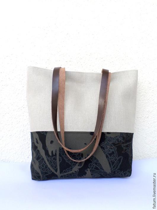 Женские сумки ручной работы. Ярмарка Мастеров - ручная работа. Купить Сумка тоте из льна Лен контраст. Handmade. лён