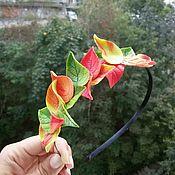 Украшения ручной работы. Ярмарка Мастеров - ручная работа Ободок с осенними листьями. Handmade.