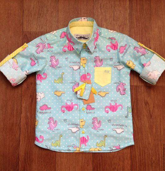 """Одежда для мальчиков, ручной работы. Ярмарка Мастеров - ручная работа. Купить Рубашка """" Динозавры"""". Handmade. Комбинированный, мальчикам"""