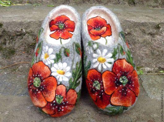 Обувь ручной работы. Ярмарка Мастеров - ручная работа. Купить Тапочки «Для сватьи». Handmade. Серый