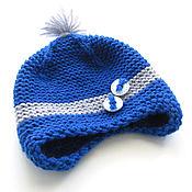 Работы для детей, manualidades. Livemaster - hecho a mano gorro para niño sombrero de zona azul gris, 3-6 meses. Handmade.