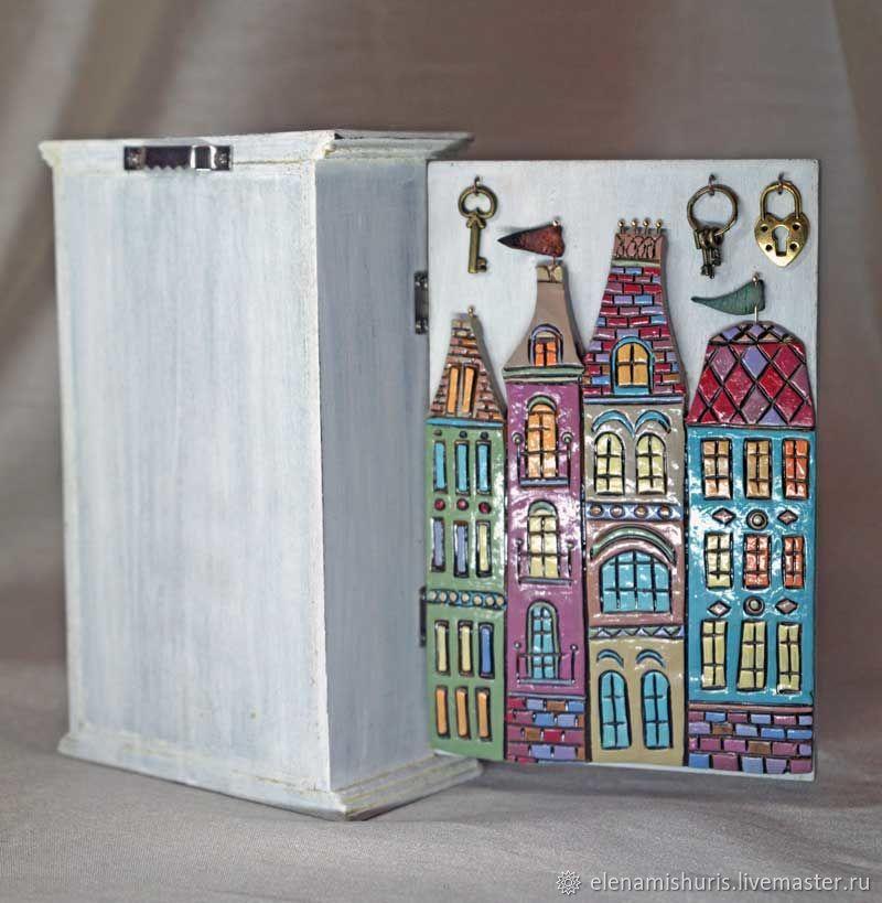 Миниатюрные модели ручной работы. Ярмарка Мастеров - ручная работа. Купить Ключница 'Голландские домики'. Handmade. Керамика, домики, керамика