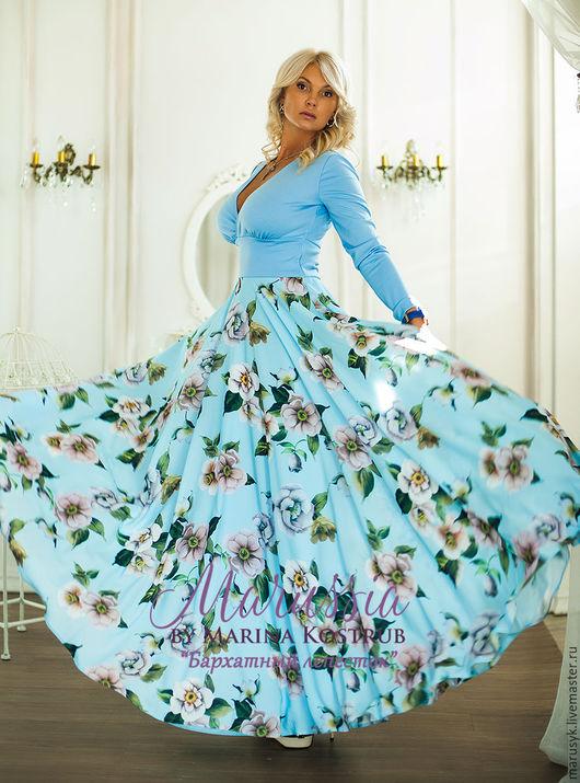 Платья ручной работы. Ярмарка Мастеров - ручная работа. Купить Платье- БЛ-19. Handmade. Голубой, платье на выход
