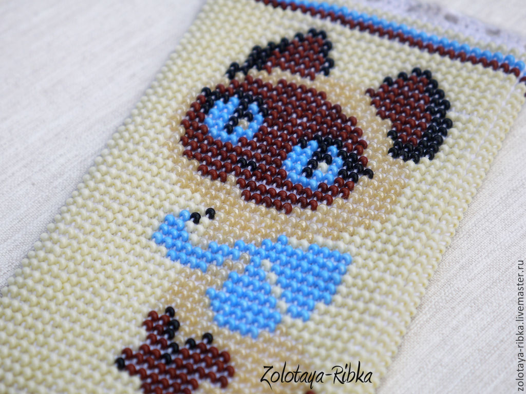 For phones handmade. Phone case beaded Kitten BOW blue bow ; . Jewelry from Gold fish. Fair Masters.