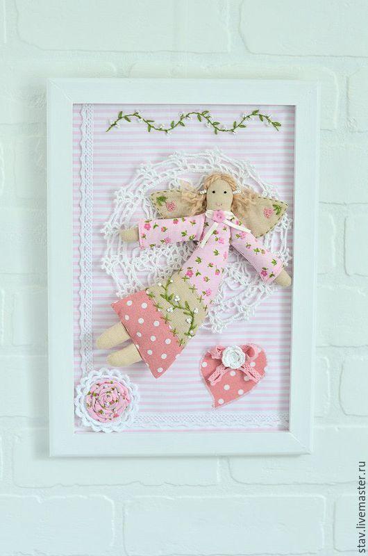 """Детская ручной работы. Ярмарка Мастеров - ручная работа. Купить Панно текстильное""""Лесные феи"""" вышивка бисером,ангелы,розовый зеленый. Handmade."""