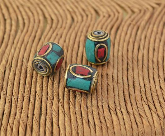 Для украшений ручной работы. Ярмарка Мастеров - ручная работа. Купить Бусина Тибет цилиндр 11-12мм. Handmade. Комбинированный