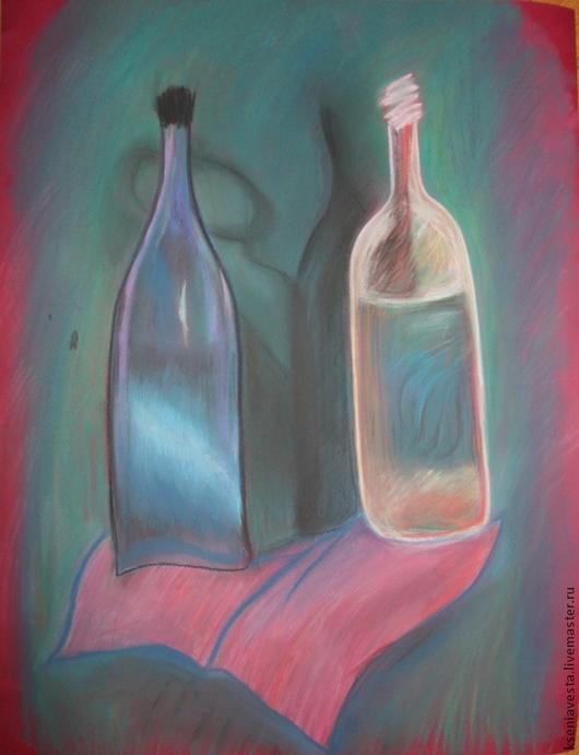 Натюрморт ручной работы. Ярмарка Мастеров - ручная работа. Купить Продано. Тайна бутылки. Handmade. Картина, интерьер, бутылки, бумага