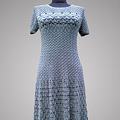 Одежда handmade. Livemaster - original item Crochet gray dress Oscar. Gentle summer handmade women dress. Handmade.