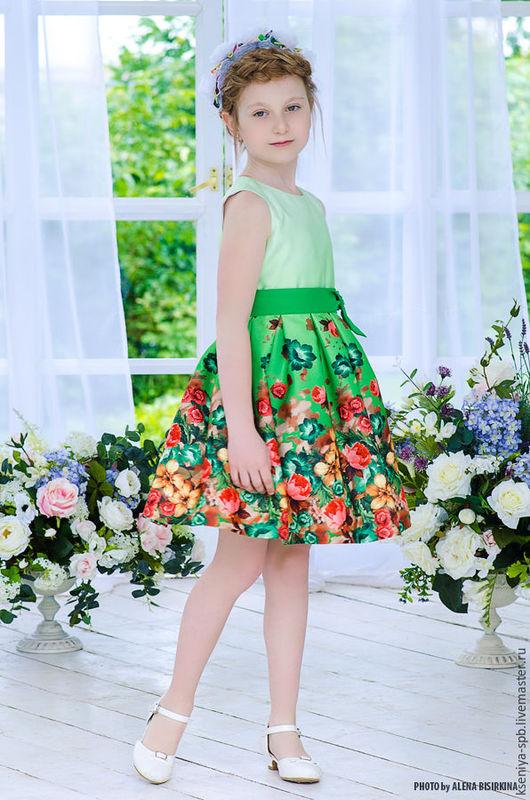 """Одежда для девочек, ручной работы. Ярмарка Мастеров - ручная работа. Купить Нарядное платье для девочки, яркое  """"Цветочек"""". Handmade."""