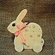 Заяц(Кролик)-каталка, деревянная игрушка ручной работы, декорированный