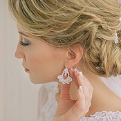 Свадебный салон handmade. Livemaster - original item Earrings Wedding Bells, handmade lace tatting. Handmade.