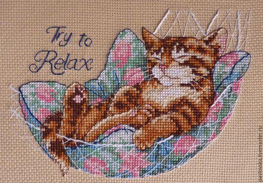 """Животные ручной работы. Ярмарка Мастеров - ручная работа. Купить Вышитая картина """"Try to relax"""". Handmade. Разноцветный"""