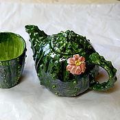 """Посуда ручной работы. Ярмарка Мастеров - ручная работа Чайник и кружка """"Кактус"""". Handmade."""
