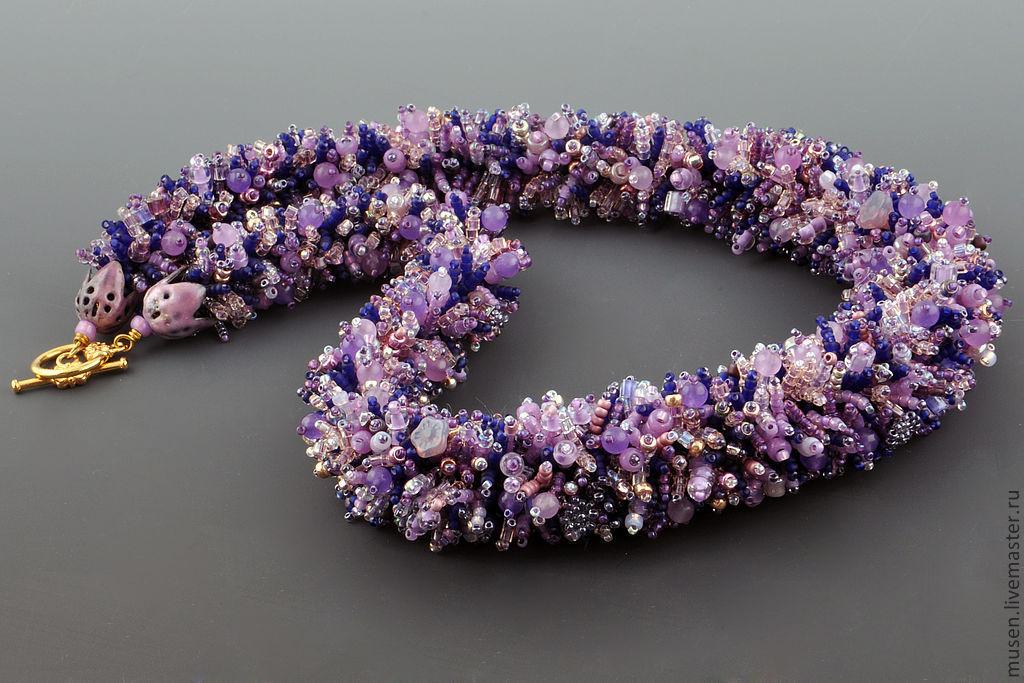 Beaded harness Lavender field, Necklace, Copenhagen,  Фото №1