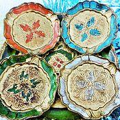 Vintage interior handmade. Livemaster - original item Antique Florentine tray and Cup holders Italy. Handmade.