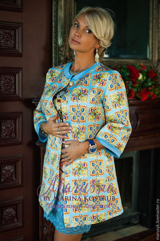Верхняя одежда ручной работы. Ярмарка Мастеров - ручная работа. Купить ПАЛЬТО-КАРДИГАН-БЛ-29. Handmade. Голубой