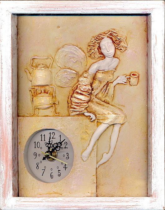 """Часы для дома ручной работы. Ярмарка Мастеров - ручная работа. Купить Часы """"Чашка чая"""". Handmade. Часы, авторские часы"""