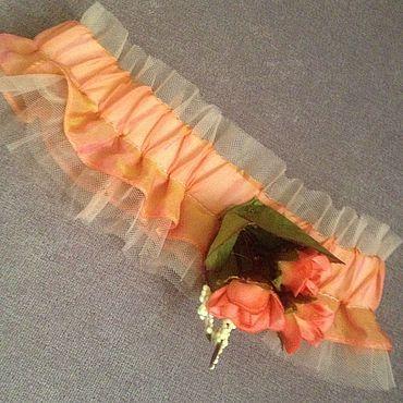 Свадебный салон ручной работы. Ярмарка Мастеров - ручная работа Подвязка невесты ( оранжевая свадьба). Handmade.