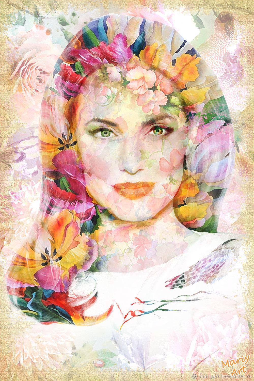 Портрет из цветов, Фотокартины, Москва, Фото №1