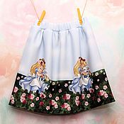 Работы для детей, handmade. Livemaster - original item Skirt for girl made of blue neoprene
