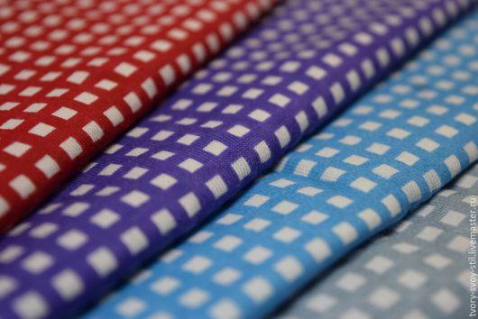 """Шитье ручной работы. Ярмарка Мастеров - ручная работа. Купить Кулирка """"Клеточка"""". Handmade. Синий, ткань для рукоделия, ткани для рукоделия"""